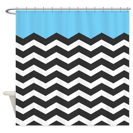 Blue Black And White Chevron Shower Curtain By Admin