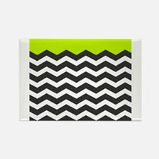 Lime Green Black and white chevron Magnets