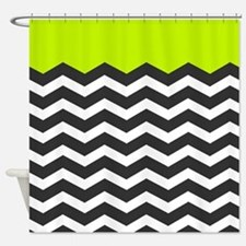 Lime Green Black and white chevron Shower Curtain