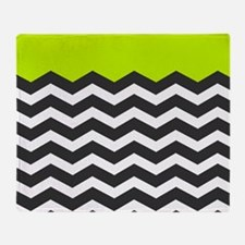 Lime Green Black and white chevron Throw Blanket