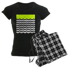 Lime Green Black and white chevron pajamas