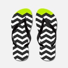 Lime Green Black and white chevron Flip Flops
