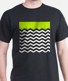 Lime Green Black and white chevron T-Shirt