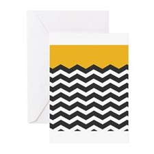 Yellow Black and White Chevron Greeting Cards