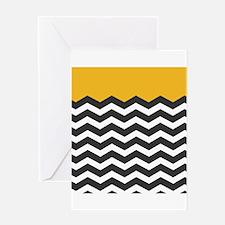 Yellow Black and White Chevron Greeting Cards