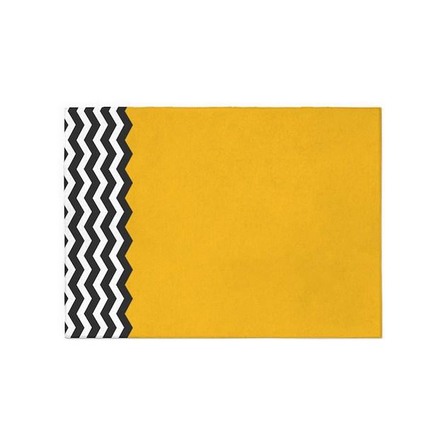 Black And White Chevron Bathroom Rug: Yellow Black And White Chevron 5'x7'Area Rug By Admin
