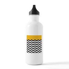 Yellow Black and White Chevron Sports Water Bottle