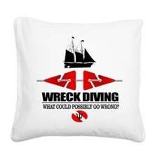 Wreck Diving (Line Markers) Square Canvas Pillow