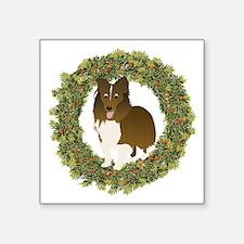"""Funny Christmas Sheltie Square Sticker 3"""" x 3"""""""
