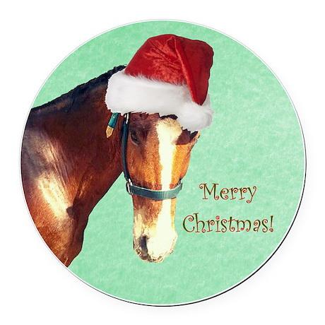 Cute Equestrian Horse Christmas Round Car Magnet