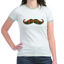 Red and Green Christmas Plaid Mustache T-Shirt