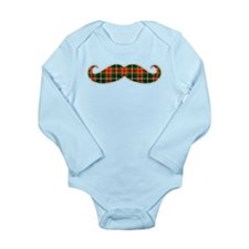 Red and Green Christmas Plaid Mustache Body Suit