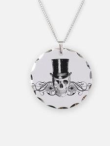 B&W Vintage Tophat Skull Necklace