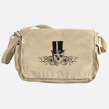 B&W Vintage Tophat Skull Messenger Bag