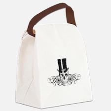 B&W Vintage Tophat Skull Canvas Lunch Bag