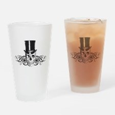 B&W Vintage Tophat Skull Drinking Glass
