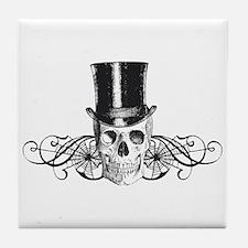B&W Vintage Tophat Skull Tile Coaster