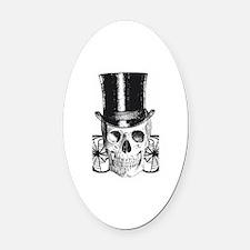 B&W Vintage Tophat Skull Oval Car Magnet
