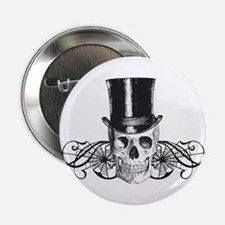 "B&W Vintage Tophat Skull 2.25"" Button"
