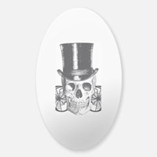 B&W Vintage Tophat Skull Sticker (Oval)