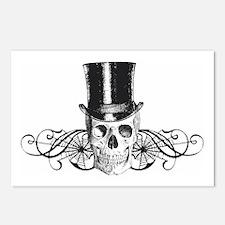 B&W Vintage Tophat Skull Postcards (Package of 8)