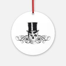 B&W Vintage Tophat Skull Ornament (Round)