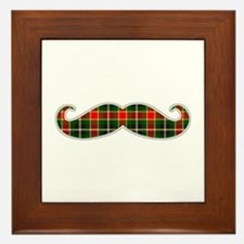 Red and Green Christmas Plaid Mustache Framed Tile