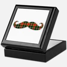 Red and Green Christmas Plaid Mustache Keepsake Bo