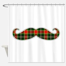 Red and Green Christmas Plaid Mustache Shower Curt