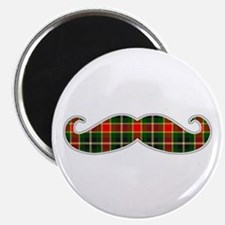 Red and Green Christmas Plaid Mustache Magnets
