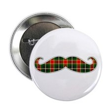 """Red and Green Christmas Plaid Mustache 2.25"""" Butto"""