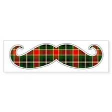 Red and Green Christmas Plaid Mustache Bumper Stic