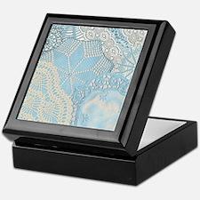 Lace panel (blue) Keepsake Box