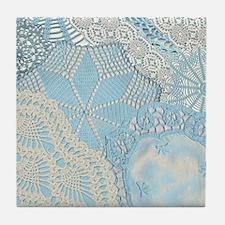 Lace panel (blue) Tile Coaster