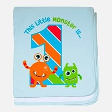 Little Monster 1st Birthday baby blanket