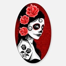 Day of the Dead Girl - Deep Red Sticker (Oval)