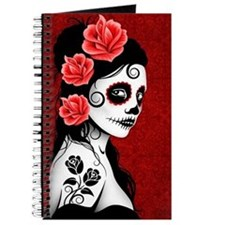 Day of the Dead Girl - Deep Red Journal