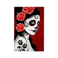 Day of the Dead Girl - Deep Red Rectangle Magnet