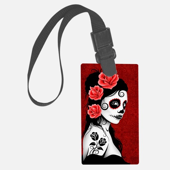 Day of the Dead Girl - Deep Red Luggage Tag