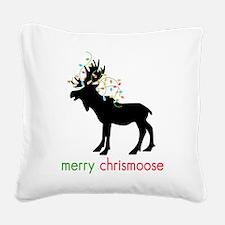 Merry Chrismoose Square Canvas Pillow