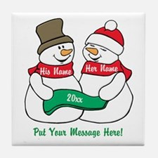 Personalize It Christmas Tile Coaster