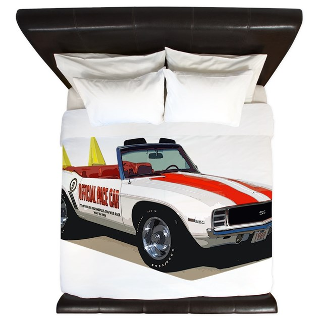 Babyamericanmusclecar 69 cam pacecar king duvet by for Kitchen colors with white cabinets with muscle car stickers