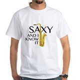 Saxophone Mens White T-shirts