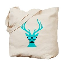 Christmas deer with mustache and nerd glasses Tote