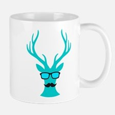 Christmas deer with mustache and nerd glasses Mugs