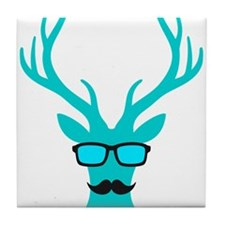Christmas deer with mustache and nerd glasses Tile