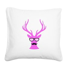 Pink Christmas deer with mustache and nerd glasses