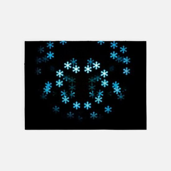 Magical Christmas Snowflakes 5'x7'Area Rug