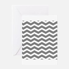 Charcoal Grey Chevron Greeting Cards