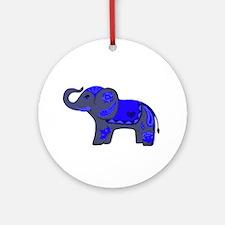 Henna Elephant (Blue/grey) Ornament (Round)